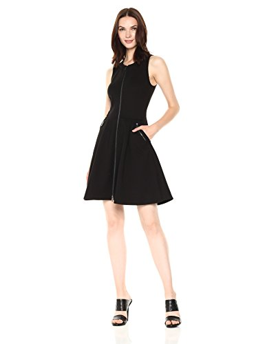 A|X Armani Exchange Women's Sleeveless Zip up a-Line Dress, Black, S