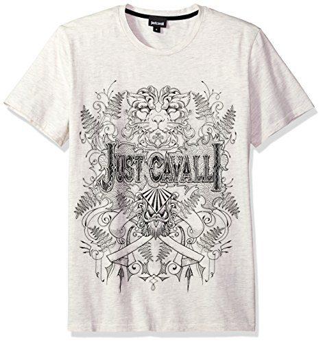 Just Cavalli Men's Graphic T-Shirt, Seed Pearl Melange, XL
