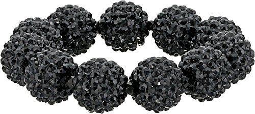Kenneth Jay Lane Women's Black Pave Ball Stretch Bracelet Black One Size