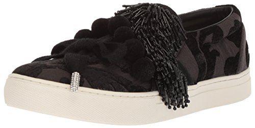 Marc Jacobs Women's Mercer Pompom Slip Sneaker, Black, 40 M EU (10 US)