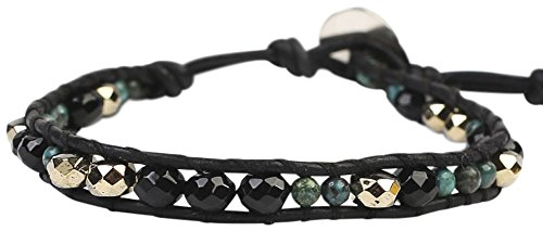Chan Luu Onyx Mix Single Black Leather Wrap Bracelet