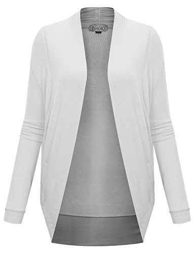 BIADANI Women's Long Sleeve Shrug Cardigan Sweater White Large