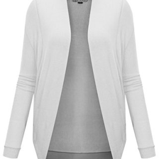 BIADANI Women's Long Sleeve Shrug Cardigan Sweater White Large
