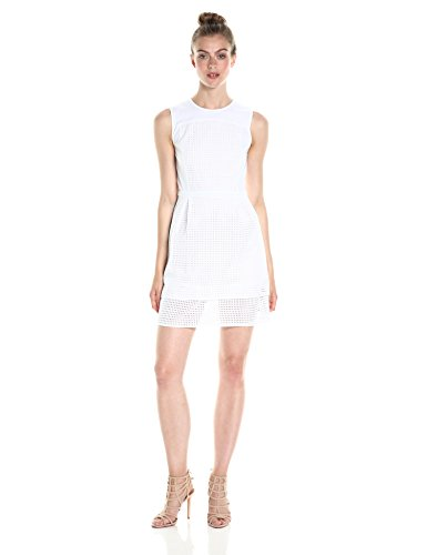 A|X Armani Exchange Women's Crew Neck Sleeveless Eyelet Mini Dress, White, 12