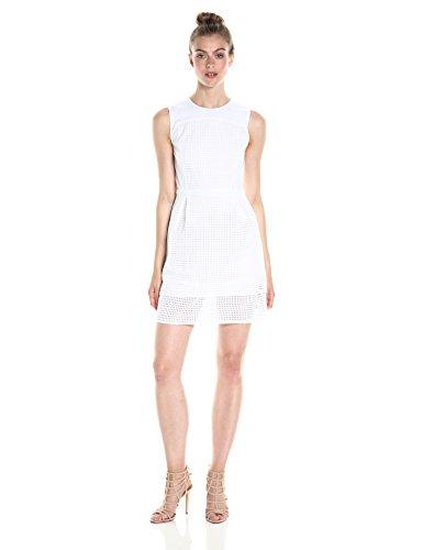 A|X Armani Exchange Women's Crew Neck Sleeveless Eyelet Mini Dress, White, 12
