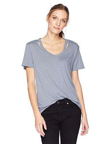 Michael Stars Women's Luxe Slub Short Sleeve U-Neck Cut Out Tee, Chrome, O/S