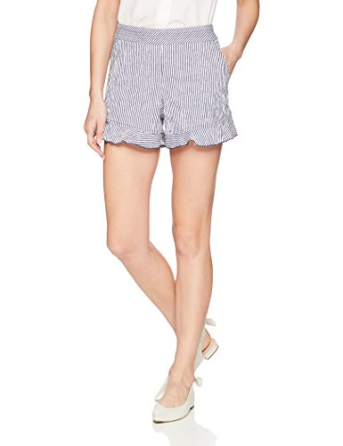 Trina Turk Women's Rocklin Ruffle Short, White Wash/Indigo, 8
