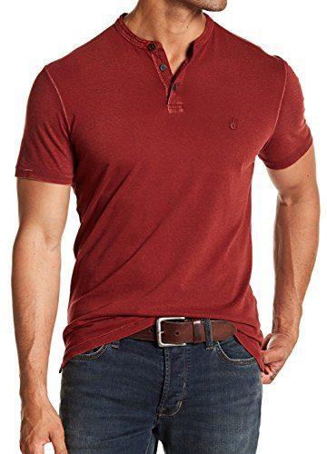 John Varvatos Men's Short Sleeve Peace Sign Henley Reverse Print Shirt Medium Azalea