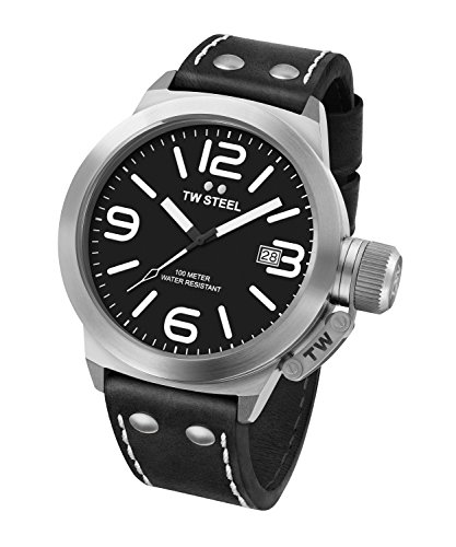 TW Steel Men's CS1 Stainless Steel Watch with Black Leather Band