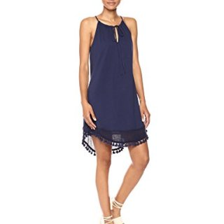 Michael Stars Women's Mixed Media Halter Dress with Fringe Trim, Nocturnal, S