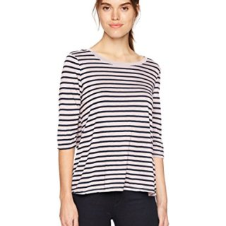 Michael Stars Women's Riviera Stripe Elbow Sleeve Crew Neck Swing Tee, Tickle, One Size