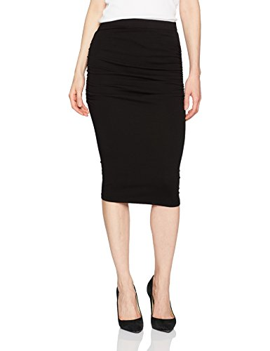 Michael Stars Women's Cotton Lycra Pencil Skirt with Shirring, Black, L