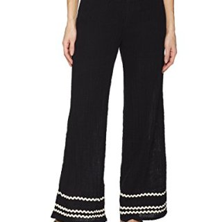 Michael Stars Women's RIC Rac Double Gauze Smocked Wide Leg Pant, Black, XS