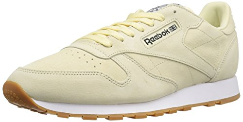 Reebok Men's Classic Lthr Pastels Fashion Sneaker, Wahsed Yellow/Classic White/Coal-Gum, 7.5 M US