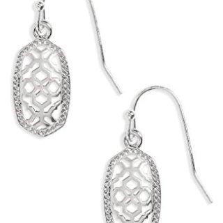 Kendra Scott Lee Small Silver Metal Filigree Gold Drop Earrings