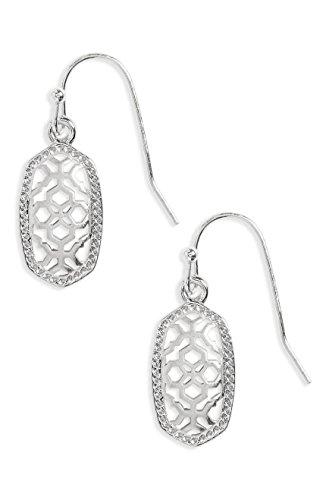 Kendra Scott Lee Small Silver Metal Filigree Gold Drop Earrings