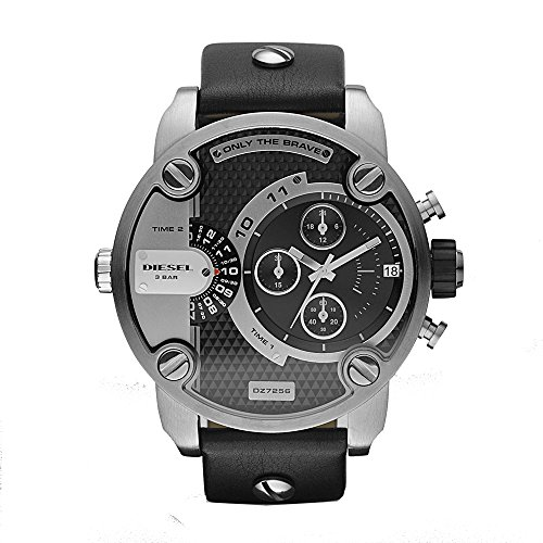 Diesel Men's Little Daddy Quartz Stainless Steel and Leather Chronograph Watch, Color Grey, Black (Model: DZ7256)