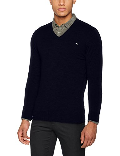 J.Lindeberg Men's Lymann True Merino Sweater, Navy, Large