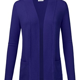 JJ Perfection Women's Open Front Knit Long Sleeve Pockets Sweater Cardigan ROYALBLUE2 S