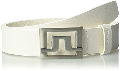 J.lindeberg Men's Slater 40 White Leather Belt, white, 105
