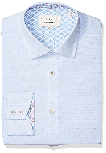"Ted Baker Men's Racking Slim Fit Dress Shirt, Blue, 15.5"" Neck 34-35"" Sleeve"