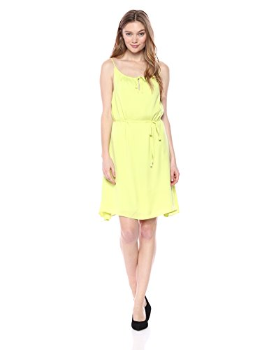 A|X Armani Exchange Women's Drawstring Neck Line Spaghetti Strap Waist Tie Dress, Lime, 0
