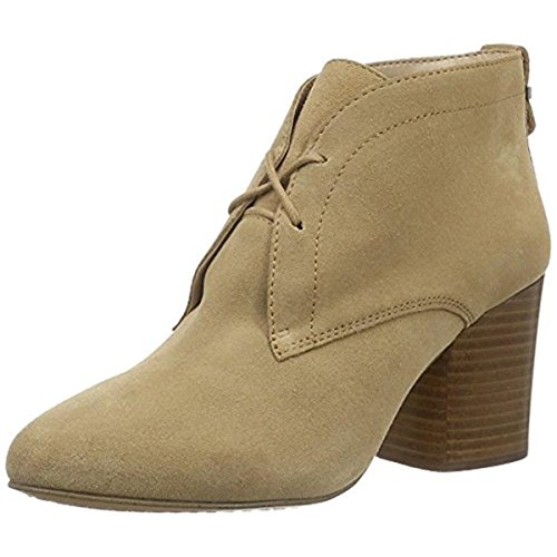 French Connection Womens Dinah Suede Stacked Heel Ankle Boots Tan 9 Medium (B,M)