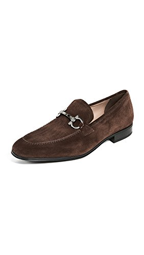Salvatore Ferragamo Men's Flori 2 Suede Gancini Loafers, Brown, 7 D(M) US