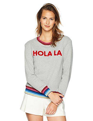 Trina Turk Women's Hola LA Sweatshirt, Heather Gray, Medium