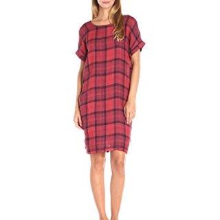 Stateside Women's Chambray Plaid Dress, Tabasco, Medium