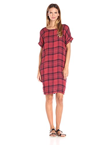 Stateside Women's Chambray Plaid Dress, Tabasco, Medium