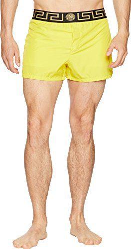 Versace Men's Beach Shorts Yellow/Black Small