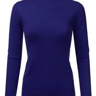 JJ Perfection Women's Soft Long Sleeve Mock Neck Knit Sweater Top Royalblue XL