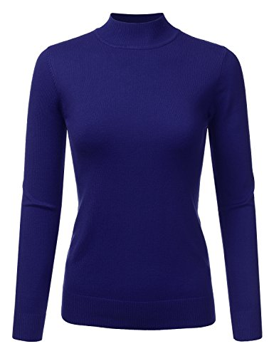 JJ Perfection Women's Soft Long Sleeve Mock Neck Knit Sweater Top Royalblue XL