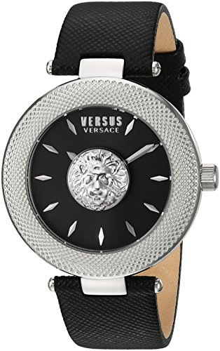 Versus by Versace Women's 'Brick Lane' Quartz Stainless Steel and Leather Casual Watch, Color Black