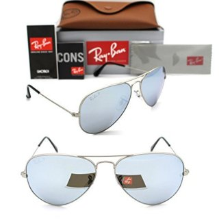 Ray-Ban Aviator 019/W3 58mm Matte Silver Polarized Silver Mirror L642c