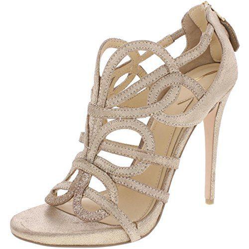 Brian Atwood Womens Tira Metallic Caged Dress Sandals Gold 9.5 Medium (B,M)