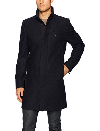 Ted Baker Men's Marvin Modern Slim Fit Wool Funnel Neck Overcoat, Dark Blue, 6