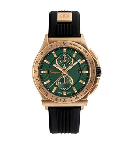Salvatore Ferragamo Sport Men's Swiss Made Watch, Bronze Case Color, Green Dial Color