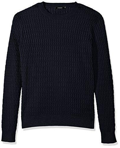 J.Lindeberg Men's Cotton Cable Sweater, JL Navy, Large