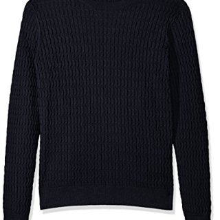 J.Lindeberg Men's Cotton Cable Sweater, JL Navy, Large