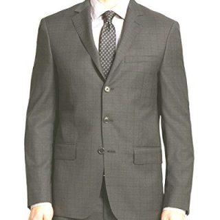 John Varvatos Luxe Mens Window Plaid Suit Charcoal 38R
