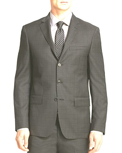 John Varvatos Luxe Mens Window Plaid Suit Charcoal 38R