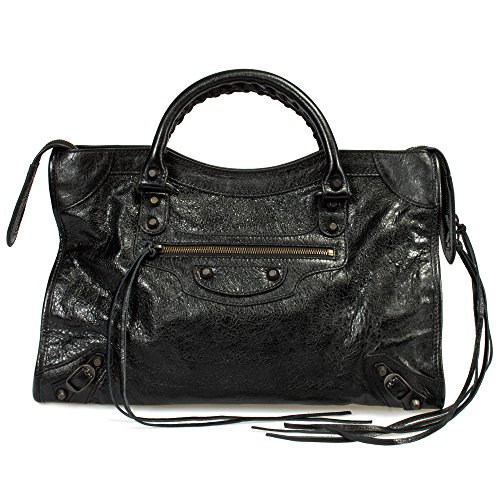 Balenciaga Women's Classic City Lambskin Bag, Black, Medium