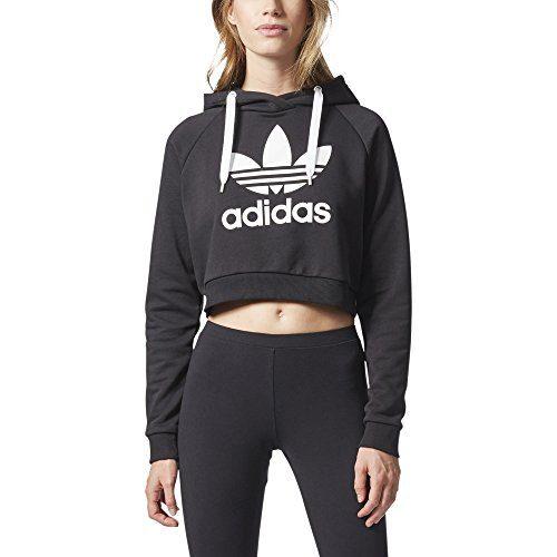 adidas Originals Women's Originals Trefoil Cropped Hoodie, Black/White, M