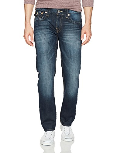 True Religion Men's Slim Straight Jean with Flap Back Pockets, Lost Lagoon, 42