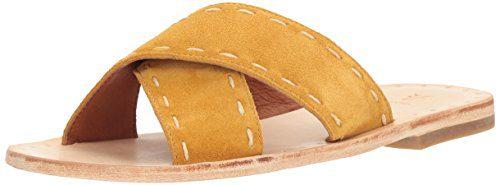 FRYE Women's Avery Pickstitch Slide Flat Sandal, Yellow, 5.5 M US