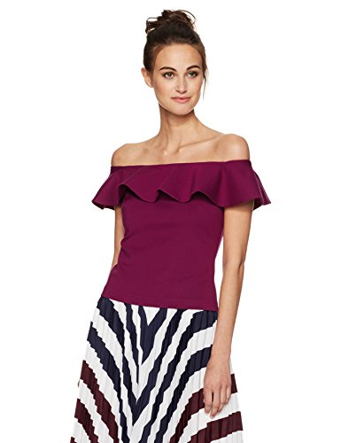Ted Baker Women's Perui Off The Shoulder Frill Det Top, Purple, 3