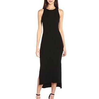 Enza Costa Women's Rib Sleeveless Side Slit Midi Dress, Black, S