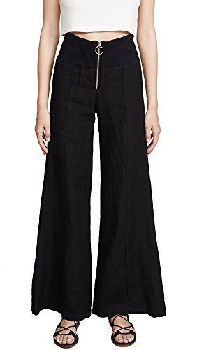 Enza Costa Women's Linen Pintuck Wide Leg Pants, Black, 0